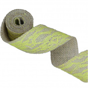 Yellow Lace on Jute Burlap Ribbon Roll 5.1cm Width 2 Yards for Party Wedding Cake Holiday Flora Craft Decoration