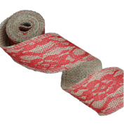 Red Lace on Jute Burlap Ribbon Roll 5.1cm Width 2 Yards for Party Wedding Cake Holiday Flora Craft Decoration