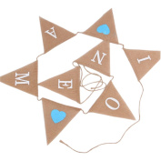 I AM ONE Burlap Banner - Vintage Triangle Bunting Banner with 8pcs Flags Party Decoration