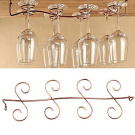 BESTIM INCUK Under Cabinet Wine Glass Rack Stemware Holder for Home Bar, Holds up to 8 Glasses, Brass Colour