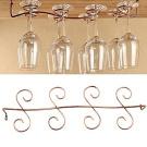 BESTIM INCUK Under Cabinet Wine Glass Rack Stemware Holder for Home Bar, Holds up to 8 Glasses, Brass Colour
