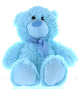 34cm Blue Baby Boy Teddy Bear Soft Toy Plush Wearing Blue & White Cheque Ribbon