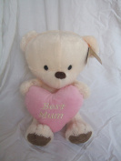 """Best Mum"" Ivory Soft Plush Traditional Style Cute Teddy Bear with Pink Love Heart 30cm"