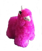 Alpacaandmore Baby Alpaca Fur Unicorn Alpaca Toy Hand Made 28cm , Pink