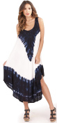 Gorgeous Ladies Womens Tie Dye Patterned Swing Dress with Wide Shoulder Straps, Navy/White