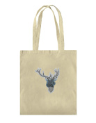 Reusable Cotton Tote Shopping bag with Deer Head with Horns with Mountains Background Illustration print.