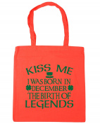 HippoWarehouse Kiss me I was born in December the birth of legends Tote Shopping Gym Beach Bag 42cm x38cm, 10 litres