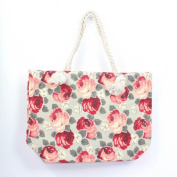 Ladies Women's Large Grey Rose Print Canvas Beach Bag Set