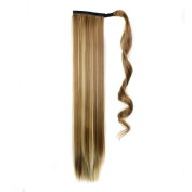 Quibine 60cm Long Straight Wrap Around Ponytail Cosplay Hairpiece Hair Extension Wigs 6H/613#
