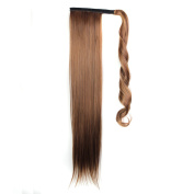 Quibine 60cm Long Straight Wrap Around Ponytail Cosplay Hairpiece Hair Extension Wigs 4/30#