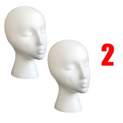 Foam Mannequin Head, Tonsee 2PC Styrofoam Foam Mannequin Female Head Model Wig Glasses Hat Display Stand