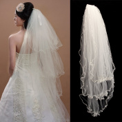 AllRight 3 Layers Bride Wedding Veil Elbow Edge Beaded Pearl with Comb Ivory