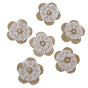Veroda Hessian Burlap Lace Flowers Bridal Wedding Craft DIY Making Decoration Pack of 6pcs