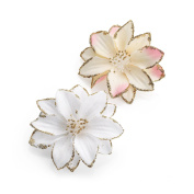 TWO PIECE PINK AND WHITE GLITTER FLOWER HAIR CLIP SET