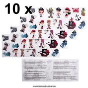 10 x Children Pirates Tattoo Card - 160 Priates temporary tattoos for chidlren