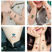 TAFLY Temporary Tattoos for Kids 70+ Designs Temporary Fake Cartoon Tattoos-Star Animal Skull Fruit Alphabet for Party Favours for Boys and Girls 5 Sheets