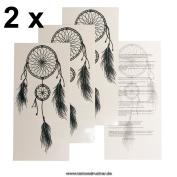 2 x Dreamcatcher Tattoo in black - Dreamcatcher temporary Tattoo