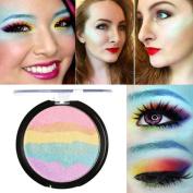 Eyeshadow ,Saingace 6 Colours Rainbow Highlight Eyeshadow palette Baked Blush Face Shimmer Colour