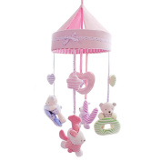 SHILOH Baby Crib Musical Mobile Rotatable Bedbell with Mobile and Arm Pink Love