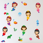 Booizzi Cute Mermaids Princesses Under the Sea Wall Sticker Decal Set - Girls Nursery Bedroom Decoration - includes Fish, Turtle, Seahorses & More