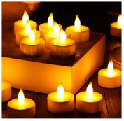 Malloom 12pc LED Tea Light Candles Realistic Battery-Powered Flameless Candles