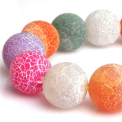 """Round Mix-Colour Frosted Agate Gemstone Loose Beads In Bulk Beads For Jewellery Making Wholesale Beads One Strand 15"""""""
