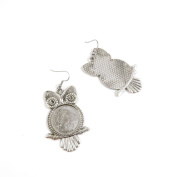30 Pairs Jewellery Making Antique Silver Tone Earring Supplies Hooks Findings Charms Q3ZX8 Owl Cabochon Base Blank