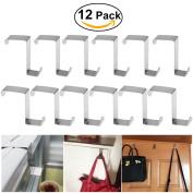 12pcs Over Door Hanger, BESTOMZ Stainless Steel Over Door Hooks Cabinet Draw Clothes Hanger