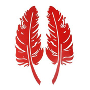 Academyus Feather Scratch Stickers Car Graphics Decals 3D Decoration Sticker for Car Mirror Window - Red
