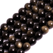 """Natural Gold Obsidian Rainbow Gemstone Loose Beads In Bulk For Jewellery Making Wholesale Beads One Strand 15 1/2"""""""
