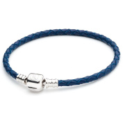 ATHENAIE Blue Single Braided Leather 925 Sterling Silver Snap Clasp Bracelet