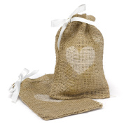 Hortense B. Hewitt Burlap Favour Bags Wedding Accessories, Heart, Set of 25