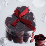 BalsaCircle 50 Gift Boxes with 6 Rose Soaps - Burgundy