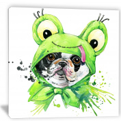"Designart PT6054-80cm - 80cm French Bulldog Illustration Animal"" Canvas Artwork, Green, 80cm x 80cm"