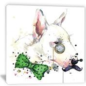 """Designart PT6053-80cm - 80cm Bull Terrier Dog Animal"""" Canvas Artwork, White, 80cm x 80cm"""