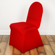 BalsaCircle 25 pcs Banquet Spandex Stretchable Chair Covers - Red