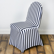25 pcs Banquet Striped Spandex Stretchable Chair Covers - Black White