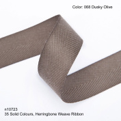 Neotrims 19mm Herringbone Twill Tape Woven Soft Ribbon Trimming 35 Fashion Colours, Dusky-Olive