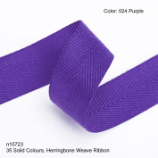 Neotrims 19mm Herringbone Twill Tape Woven Soft Ribbon Trimming 35 Fashion Colours, Purple
