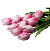 Outtop 10PCS / LOT 35cm Mini Tulip Single Stem Artificial Flowers Bouquets Real Touch Fake Flowers for Decoration 10 heads