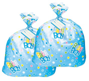 Jumbo Plastic Blue Polka Dot Boy Baby Shower Gift Bags