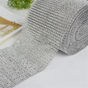 MEXUD-Diamond Mesh Wrap Roll Cake Rhinestone Wedding Ribbon for Decor Party Supplies