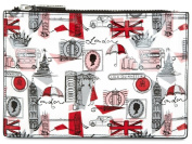 Lulu Guinness London Print Slim Make-up Cosmetic Pouch Bag