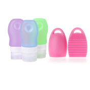 Portable Soft Silicone Travel Bottles Set (2 OZ/60ml) & Makeup Brush Cleaner In EVA Bag for Toiletries Pack of 4