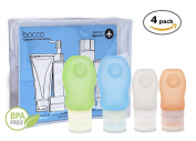 Bocco Leak Proof Squeezable Travel Bottles, Flight Cabin Approved Travel Accessories for Hand Luggage - Perfect for Liquid Toiletries - 4 Pack (2 Small/2 Medium)