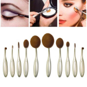 NatureBeauty 10 Pcs Super Soft Oval Toothbrush Makeup Brush Set Foundation Brushes Cream Contour Powder Blush Concealer Brush Makeup Cosmetics Tool Kit Silver