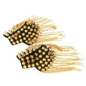 BESTOYARD Fringe Shoulder Pieces Rivet Tassel Chain Epaulette Shoulder Boards Badge Uniform Accessories