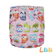 Baby Cloth Pocket Nappy Washable Reusable with Adjustable Snap, Owl Pattern Pink