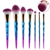 7pcs Diamond Rainbow Makeup Brushes NatureBeauty Foundation Eye-shadow Blusher Set Powder Blending Cosmetic Tool Kit