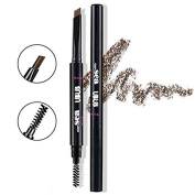 Thinkmax Brow Liner Automatic Brush Double Ended 2 IN 1 Waterproof Eyebrow Pencil Makeup Cosmetic Tool - Natural Dark Brown